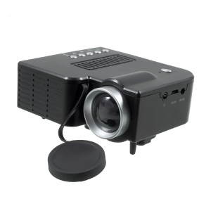 UNIC UC28A 1080P Mini Multimedia Home Cinema LED Projector with AV SD USB HDMI Ports - Black / EU Plug