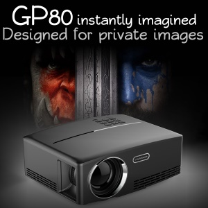 GP80 Portable Projector 1800 Lumens Home Theater with HDMI VGA - US Plug