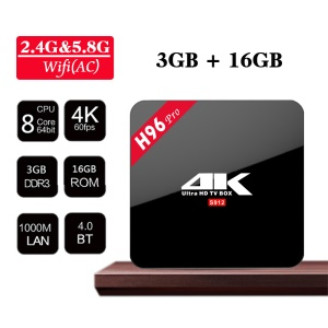 H96 Pro Amlogic S912 4K Android 6.0 TV Box Kodi 16.1 Pre-installed Octa Core 3+16GB Dual WiFi 2.4G/5G Bluetooth 4.0 1000M Ethernet Streaming Media Player - EU Plug