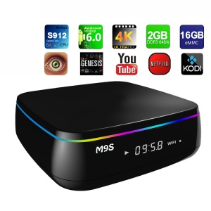 M9S MIX Amlogic S912 4K Android 6.0 Bluetooth TV Box Kodi 16.1 Octa Core 2+16GB Dual WiFi 2.4G/5G Streaming Media Player - UK Plug