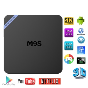 MINI M9S Pro 6,0 Amlogic S905X Bluetooth TV Box Kodi 16,1 Quad Core 2 + 8 GB WiFi 2.4G Streaming Media Player - enchufe de la UE