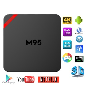 MINI M95 Android 6.0 Amlogic S905X Caja de TV Kodi 16.1 Quad Core 1 + 8GB WiFi 2.4G Streaming Media Player - enchufe de la UE