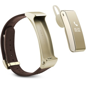 HUAWEI Talkband B2 Bluetooth Earphone Smart Fitness Bracelet 0.73-inch Leather Strap (Business Version) - Gold