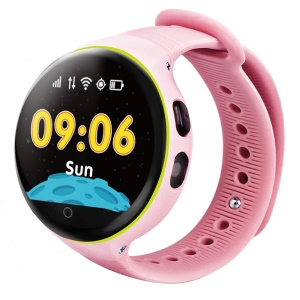 S668 Round Dial Zero-distance Water Resistant Positioning Watch Phone for Kids - Rose
