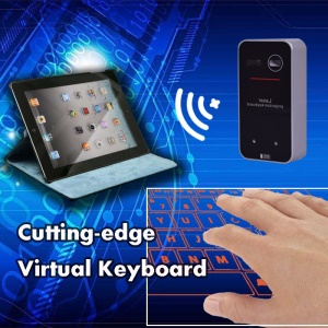 Mini Wireless Bluetooth Virtual Keyboard and Mouse Combo - Black