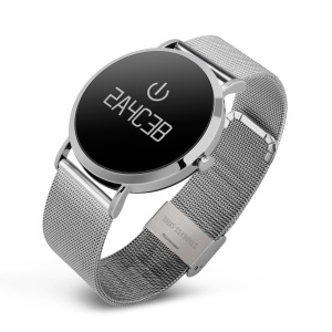 CV08 Stainless Steel Blood Pressure Blood Heart Rate Monitor Bluetooth 4.0 Smart Bracelet - Silver Color