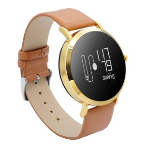 CV08 Chic PU Leather Blood Pressure Blood Heart Rate Monitor Bluetooth 4.0 Smart Wristband - Gold Color