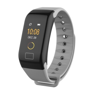 F1 Plus 0.66-inch Colored Screen Bluetooth 4.0 IP67 Smart Bracelet with Blood Pressure / Heart Rate / Blood Oxygen Monitoring - Grey