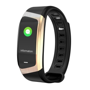 E18 0.96 inch IPS Colorful Display Health Sleeping Heart Rate Monitor Bluetooth 4.2 Smart Wristband - Black / Gold