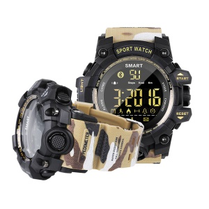 EX16S Bluetooth 4.0 5ATM Waterproof Smart Sports Watch with TPU Watch Strap - Khaki Camouflage