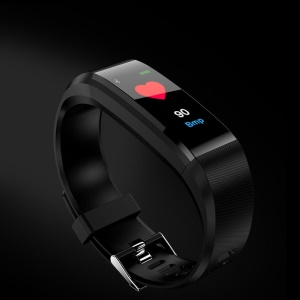 115 Plus Waterproof Smart Bracelet Sport Wristband Heart Rate Blood Pressure Monitor Fitness Tracker - Black