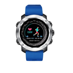 W30 IPS Multi-function Heart Rate Sleep Monitor Waterproof Smart Sports Watch with Steel Ring - Blue