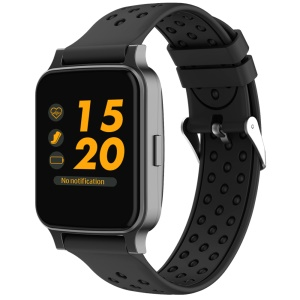 T27 2.5D Screen Voice Control Bluetooth 4.0 Wrist Heart Rate Monitor Smart Watch - All Black