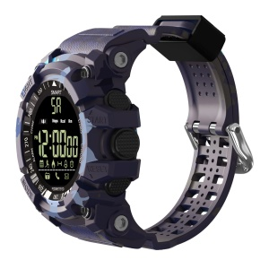 EX16Plus Tri-defense Camouflage Pattern Liminous Dial Waterproof 1.12 inch Screen Bluetooth V4.0 Sport Records Smart Watch - Blue