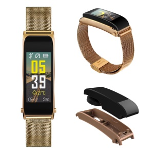 WT06 0.96 Color Screen Heart Rate Monitor Blood Pressure Blood Oxygen Monitor Bluetooth Earphone Smart Wristband (Steel Wrist Strap) - Gold