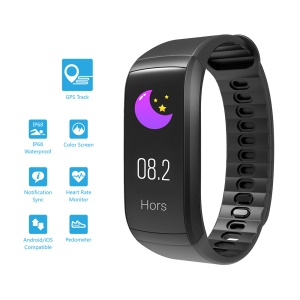 KR02 GPS Smart Band Waterproof Fitness Tracker Multi-sport Modes Bluetooth 4.0 for iOS Android - Black