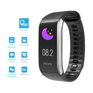 KR02 IP68 Waterproof Fitness Bracelet GPS Smart Band Heart Rate Monitor Activity Tracker Wristband - Black / Silver