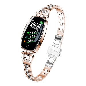 H8 Color Screen Blood Pressure Heart Rate Monitor Smart Bracelet Watch for Women - Gold