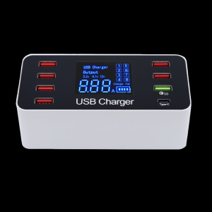8-Port USB Type-C QC 3.0 Quick Charger 5V 8A LCD Voltage Current Display - US Plug