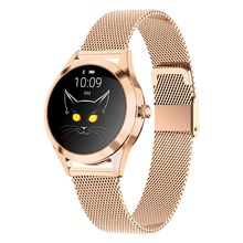 KW10 IP68 Waterproof Bluetooth Heart Rate/Sleep Monitor Smart Watch with Stainless Steel Strap for Women - Rose Gold
