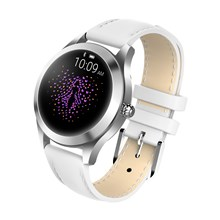 KW10 Bluetooth Women's Smart Watch IP68 Waterproof Support Heart Rate/Sleep Monitor with Leather Strap - White
