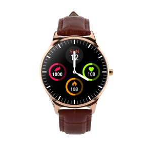 W68pro Leather Strap Smart Wristband Bracelet Watch Fitness Tracker Blood Pressure Heart Rate Monitor - Gold