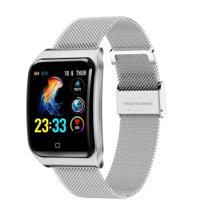 F9 1.3 inch Color Screen Smart Wristband Watch Sleep Heart Rate Blood Pressure Monitor Metal Strap Bracelet - Silver