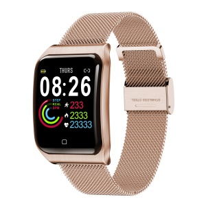 F9 1.3 inch Color Screen Smart Wristband Watch Sleep Heart Rate Blood Pressure Monitor Metal Strap Bracelet - Gold