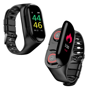 LEMFO M1 2 in 1 IP67 Waterproof Smart Watch with Bluetooth Earphone - Black