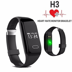 H3 Bluetooth Smart Bracelet Watch IP67 Waterproof Heart Rate Monitor Fitness Tracker Pedometer for Android iOS - Black