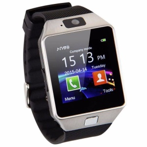 DZ09 Bluetooth Smart Watch Single SIM Phone with Dialer Camera Sleep Monitor - Silver / Black
