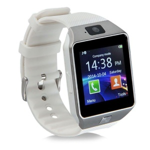 "DZ09 1.56"" LCD Single SIM Smart Watch Phone Camera Sleep Monitor - Silver Color / White"