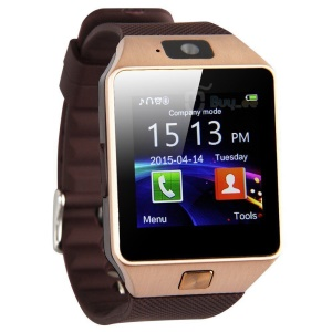 DZ09 Smart Watch Bluetooth Phone GSM SIM Call with Camera - Gold Color / Brown