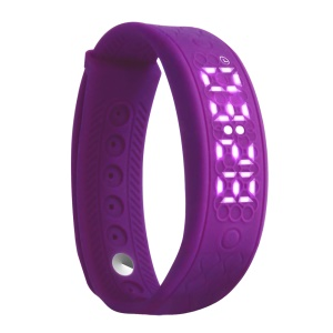 H5S Smart Silicone Wristband LED Display Real-time Heart Rate Monitor 3D Pedometer - Purple
