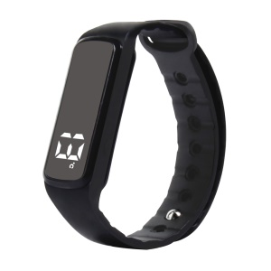 CD5 Unisex Silicone Sport Wristband with Pedometer Sleep Monitor Temperature Multi-functions - Black