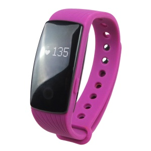 ID107  Smart Sports Bracelet Fitness Tracker 24H Heart Rate Monitor (CE/RoHS) - Purple