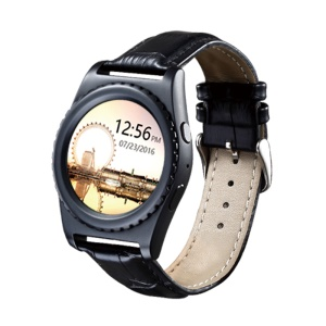 Q8 Round Dial Heart Rate Monitor Bluetooth 3.0 Smart Watch Support Phone Calls Leather Watch - Black
