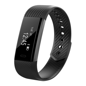 ID115 Fitness Tracker Bluetooth Smart Bracelet pour iOS et Smartphones Android - Noir