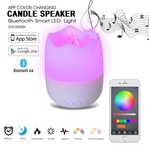 E15-CS02WH App Control Color Changing Candle Speaker Bluetooth Smart LED Light - White