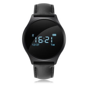 M7 Heart Rate/Blood Pressure Monitor Bluetooth Smart Sport Watch - Black Cowhide Leather Band