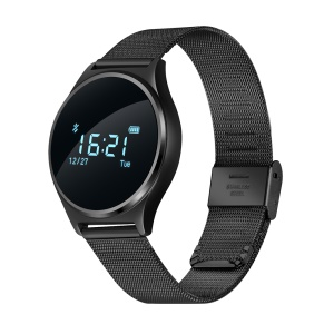M7 Heart Rate/Blood Pressure/Sport Activity Monitor Bluetooth Fitness Smart Watch - Black Steel Band