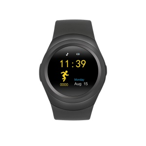 T11 Pro 1.22-inch Round Dial Bluetooth 3.0 Smart Watch Support SIM/TF Card - Black