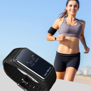 B2 Smart Sports Bracelet Bluetooth Headset 0.66-Inch Touch Screen for IOS Android - Black