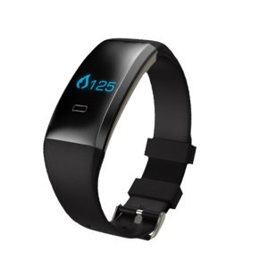 "0.66"" OLED Bluetooth Wristband Fitness Health Bracelet Support Blood Pressure Blood Oxygen Heart Rate Monitor - Black"