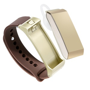K2 Bluetooth Headphone + Fitness Smart Watch Bracelet  for iOS Android Phones - Gold / Silicone Strap