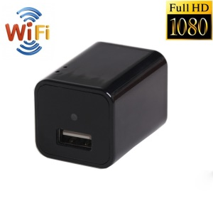 Mini WiFi 1080P HD Wireless Real-time Remote See Live Nanny Cam Video Recorder USB Wall Charger - EU Plug