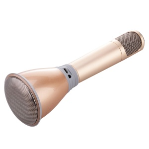 K068 Mini Karaoke Player Wireless Condenser Microphone with Mic Speaker - Gold
