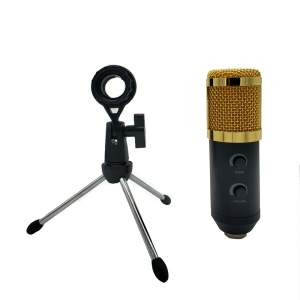 MK-F600TL Studio Professional Condenser Wired Microphone with Tripod - Black / Gold