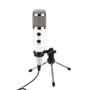 MK-F600TL Studio Professional Condenser Wired Microphone with Tripod - White / Silver