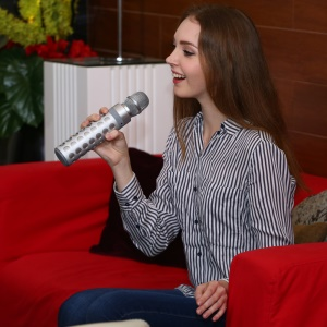 S-602K Karaoke Bluetooth Speaker Handheld Microphone 2-in-1 with Aux-in and TF Card Slot - Silver